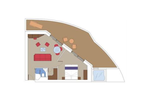 Гранд сьют с джакузи Aurea (SE3). 39 м2 (плюс балкон около 30 м2 ).