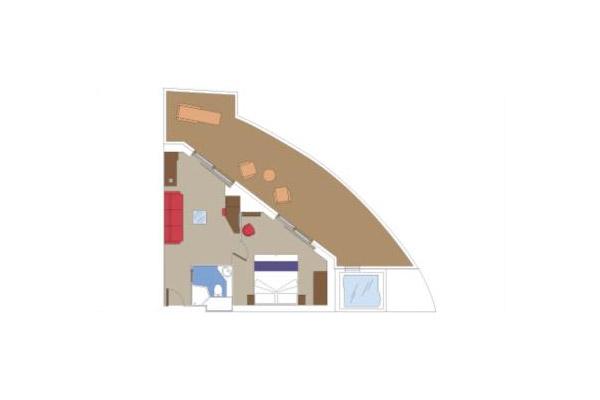 Сьют с джакузи Aurea (SJ3). 27 м2 (плюс балкон 25–30 м2).