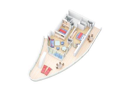AquaTheatre Suite с балконом (с балкона вид на AquaTheatre)